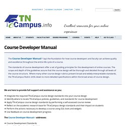 Course Developer Manual