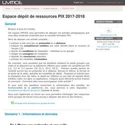 Course: Espace dépôt de ressources PIX 2017-2018