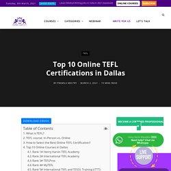 TEFL Course-Top 10 Online TEFL Certifications in Dallas