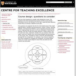 Course design: questions to consider