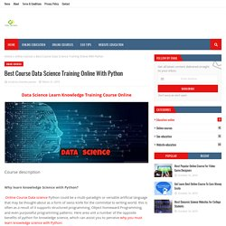 Best Course Data Science Training Online With Python
