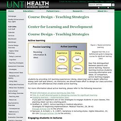 - Course Design - Teaching Strategies - UNTHSC
