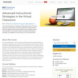 Advanced Instructional Strategies in the Virtual Classroom
