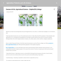 Courses in B.Sc. Agricultural Science – Dolphin(PG) College