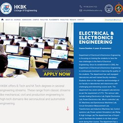 Courses - B.E Engineering EEE - HKBK - College of Engineering