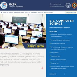 Courses - B.E Engineering CSE - HKBK - College of Engineering