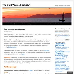 Best free courses & lectures | The Do It Yourself Scholar
