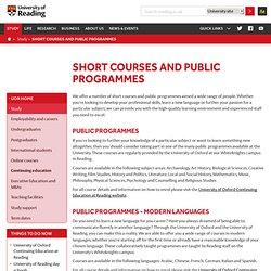 Short courses and public programmes – University of Reading