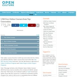 725 Free Online Courses from Top Universities