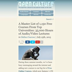 A Master List of 1,150 Free Courses From Top Universities: 35,000 Hours of Audio/Video Lectures