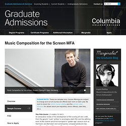 Sample Courses : Writing Music for Film : Columbia College Chicago