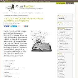 « Court » est un mot court et autres exemples autologiques