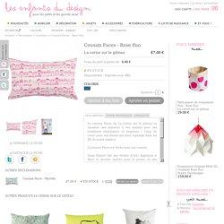 Coussin Faces - Rose fluo - La cerise sur le gâteau - Coussins design pour chambre d'enfant - Les Enfants du Design