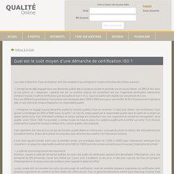 Coût moyen d'une certification ISO