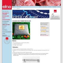 Elna - Suisse - Idées couture - Couture - COUSSIN AVEC FERMETURE ECLAIR