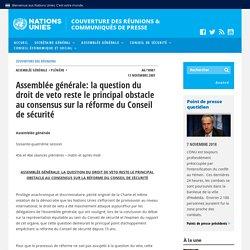Assemblée générale: la question du droit de veto reste le principal obstacle au consensus sur la réforme du Conseil de sécurité