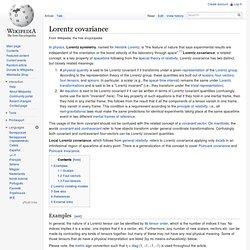 Lorentz covariance