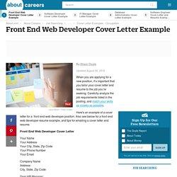 Cover Letter and Resume - Front End Web Developer
