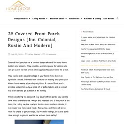 29 Covered Front Porch Designs [Inc. Colonial, Rustic and Modern] - Home Decor Bliss