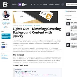 Lights Out – Dimming/Covering Background Content with jQuery