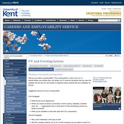 CV and Covering Letters - Careers and Employability Service