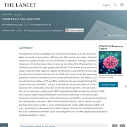 THE LANCET 13/03/20 COVID-19 and Italy: what next?