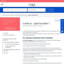 Covid-19 – Quel test faire ? / HAS, mars 2021