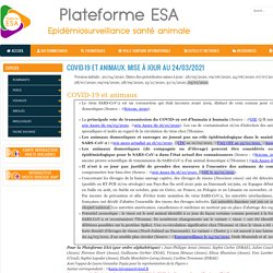 PLATEFORME ESA 31/03/21 COVID-19 et animaux. Mise à jour au 24/03/2021