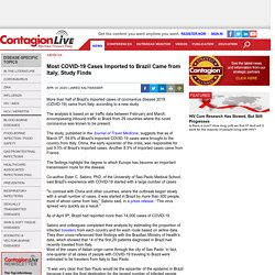 CONTAGIONLIVE 14/04/20 Most COVID-19 Cases Imported to Brazil Came from Italy, Study Finds