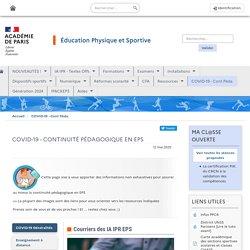 Académie PARIS COVID-19 - CONTINUITÉ PÉDAGOGIQUE EN EPS