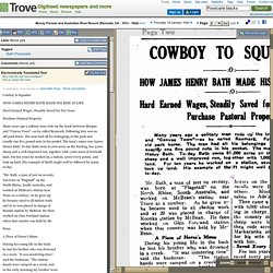 18 Jan 1934 - COWBOY TO SQUATTER Hard Earned Wages, Steadily S...