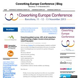 Coworking global survey: 42% of all coworkers report earning a higher income since joining a coworking space | Coworking Europe 2010