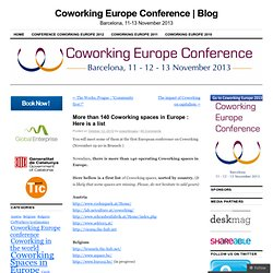 More than 140 Coworking spaces in Europe : Here is a list | Coworking Europe 2010