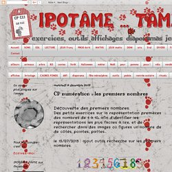 IPOTÂME ....TÂME: CP numération : les premiers nombres