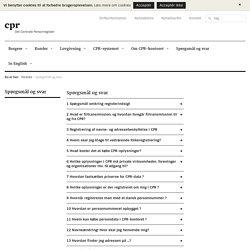 CPR Spørgsmål og svar