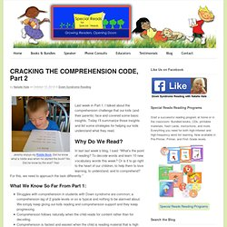 CRACKING THE COMPREHENSION CODE, Part 2