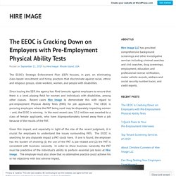 The EEOC is Cracking Down on Employers with Pre-Employment Physical Ability Tests – Hire Image