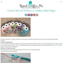 Bonnet Chouette Crochet - taille naissance à adulte