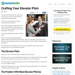 Crafting Your Elevator Pitch - Successwise