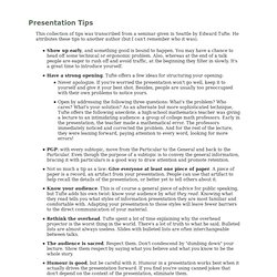 Edward Tufte Presentation Tips