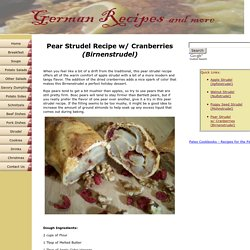 Pear Strudel Recipe - with Cranberries (Birnenstrudel)