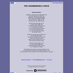 THE CRANBERRIES LYRICS - Animal Instinct