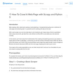 Crawling and Scraping Web Pages with Scrapy and Python 3