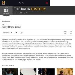 Crazy Horse killed - Sep 05, 1877
