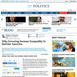 Robert Creamer: Why Growing Income Inequality Is Bad for America