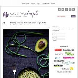 Creamy Avocado Pasta with Garlic Scape Pesto
