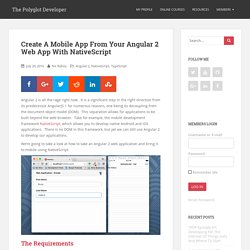 Create A Mobile App From Your Angular 2 Web App With NativeScript