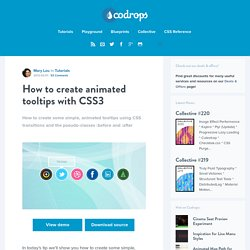 How to create animated tooltips with CSS3