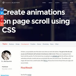 Create animations on page scroll using CSS