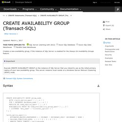 CREATE AVAILABILITY GROUP (Transact-SQL)